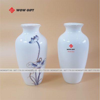 Quà tặng bình hoa gốm sứ in logo