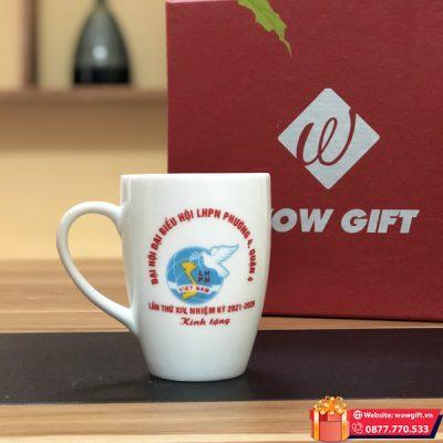cốc sứ in logo quà tặng đại hội phụ nữ cốc sứ trắng in logo